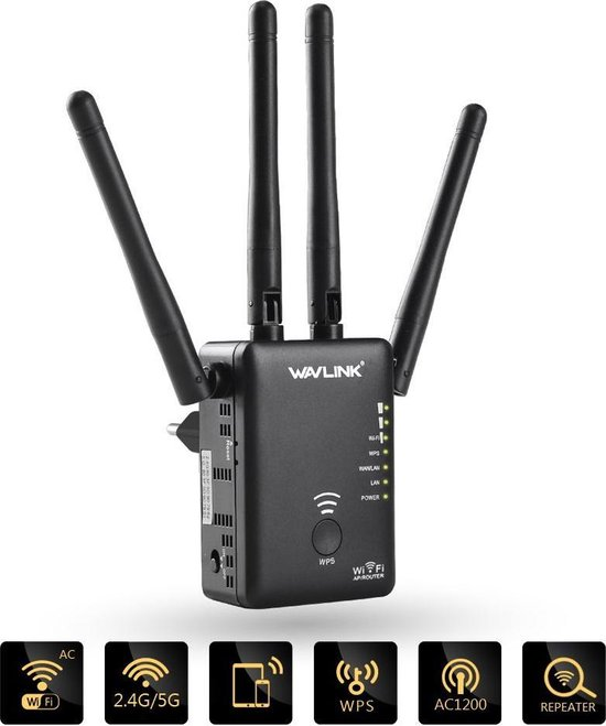 Wavlink Wifi Versterker - 1200 MBPS - Zwart