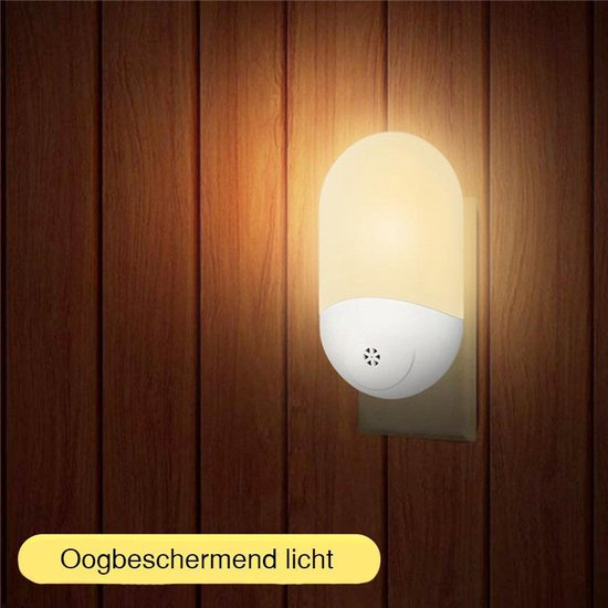 Peerlights - LED-nachtlampje plug-in/stopcontact – nachtlampje met dag/nacht sensor – Werkt op stroom – Warmlicht – Voor in de baby/kinder kamer