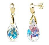 Yolora dames oorbellen met Swarovski kristal - 18K Geelgoud vergulde oorhangers - 925 sterling zilver - YO-E115-YG-AB