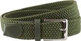 Houtkamp Gevlochten Riem - Elastische Comfort Stretch Belt - Unisex - Groen - Lengte totaal 120 cm / Riemmaat 105