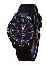 GT sportief - Tiener Horloge - Siliconen - Zwart/Rood - Ø 44 mm