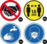 RX Goods® 25 Stuks Waarschuwing stickers Corona & Coronavirus – Waarschuwingssticker Covid-19 – Bescherming - 1,5 meter afstand houden, geen lichamelijk contact, verplicht handen wassen & mondkapje dragen