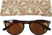 Lily&June Zonneleesbril Doorzichtig Havana +2 - Met Plantenmotief Etui