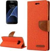 GOOSPERY CANVAS DAGBOEK voor Samsung Galaxy S7 canvas textuur horizontale flip lederen tas met kaartsleuven en portemonnee en houder (oranje)