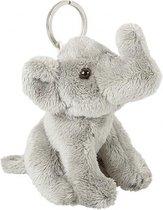 Pluche grijze olifant sleutelhanger 10 cm - Olifant dieren sleutelhangers- Speelgoed voor kinderen