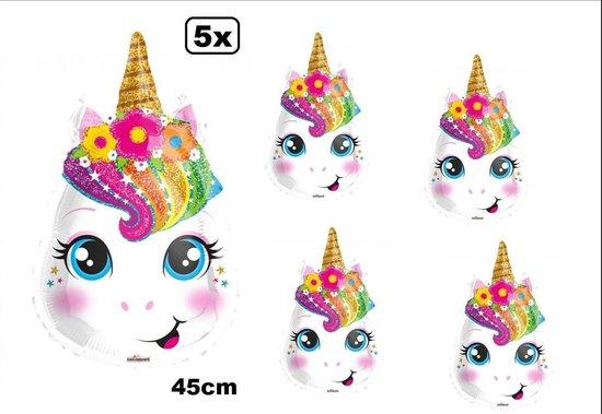 5x Folie ballon Unicorn 45cm