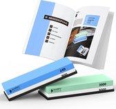 Happy Goods Luxe Dubbelzijdige Slijpsteen Wetsteen set 240-800 3000-8000 - Edelkorund (18x6x3 CM) - met GRATIS E-book - Slijpsteen voor messen messenslijper keuken accessoires