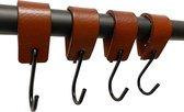 Brute Strength - Leren S-haak hangers - Cognac - 4 stuks - 12,5 x 2,5 cm – Zwart zilver – Leer - handdoekhaakjes - Ophanghaken – kapstokhaak
