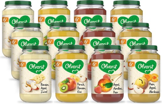 Olvarit Variatiemenu Fruit - fruithapje vanaf 6+ mnd - 4 smaken babyvoeding - 12 fruitpotjes - 200g