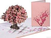 Popcards popupkaarten - Sakura Kersen bloesem roze Kersenboom Liefde Geluk Leven Troost Overlijden Afscheid Bloemen pop-up kaart 3D wenskaart