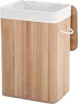 FEDEC Bamboe Wasmand 72L - Deksel en Uitneembare Linnen Waszak - 29x39x57 CM