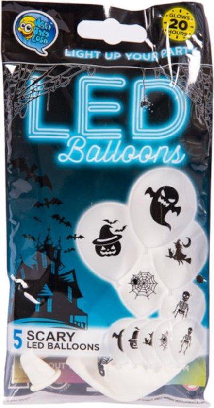 Wefiesta Ballonnen Led Scary 25 Cm Latex Wit 5 Stuks