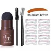 LIFETASTIC® Wenkbrauw stempelset midden bruin - Brow stamp medium brown - Waterproof - Met 10 sjablonen - Met borsteltje
