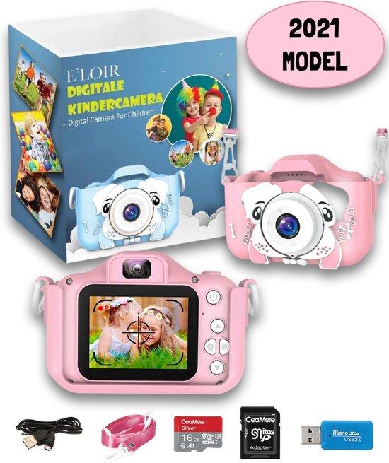 E'loir Digitale Kindercamera inclusief Micro SD Kaart 16GB en Adapter - Compact Fototoestel voor Kinderen - 1080p HD - Vlog Camera - Roze