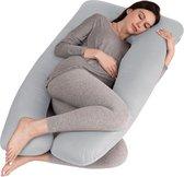 Litollo® Zwangerschapskussen XXL - Voedingskussen - Lichaamskussen - Body pillow - 280cm - Afneembare hoes - Grijs
