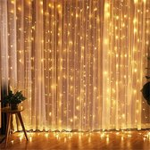 Led gordijn 3x3 meter - kerstverlichting - 300 leds - Lichtgordijn - ip65 - warm wit - kerstmis - feestdagen - koppelbaar - EU stekker - Buitenverlichting - trouwfeest verlichting