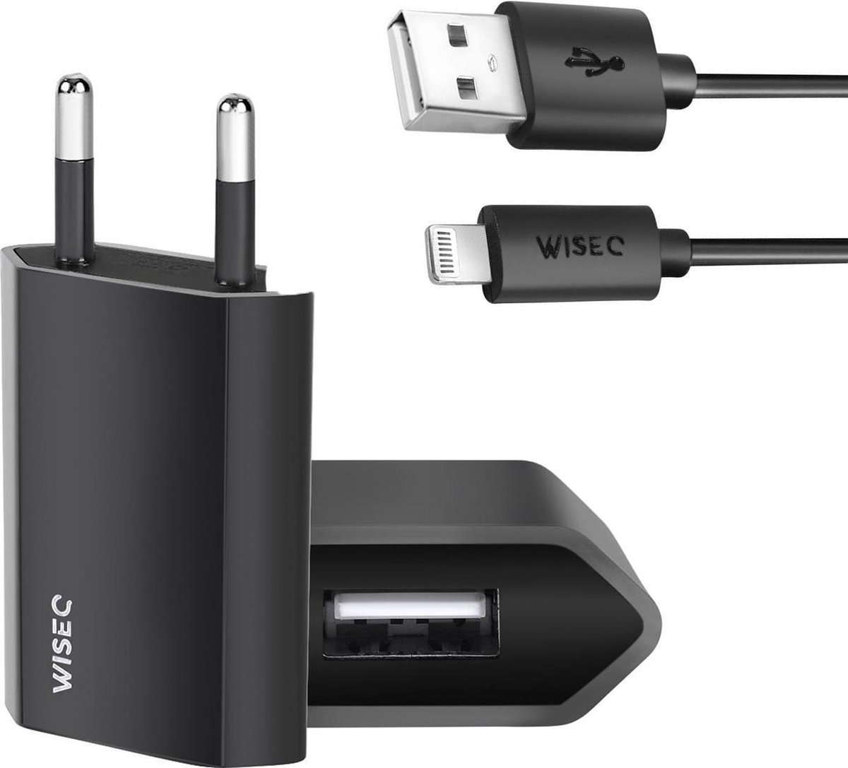 iPhone oplader zwart - Inclusief USB naar Apple Lightning Kabel - 1 Meter - 1A / 5W - Zwart