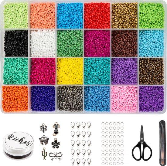 Riches® Kralenset Creative Colors - 2mm - Glaszaad - Kit voor Sieraden Maken - Hobby - Telefoonkoord Maken - Kralenketting Telefoon - Kralenkoord - - Volwassenen - Kinderen - Bedels - Kralen set - Kralendoos