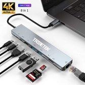 TribeTek 8-in-1 USB-C Hub - 2x USB 3.0 - 4K UHD HDMI - Adapter - Ethernet - SD TF Kaart - Power Delivery /Apple Macbook Pro / Air / iMac / Mac Mini / Google Chromebook / Windows / HP / ASUS / Lenovo -  Output - Dock