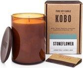 KOBO Geurkaars Woodblock Stoneflower 425 g