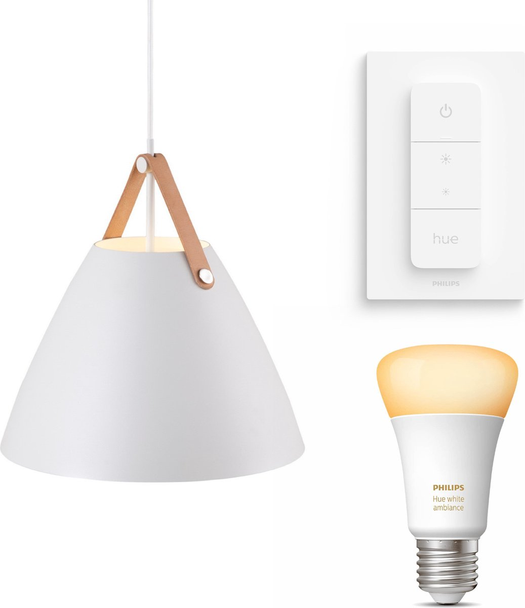 Nordlux Strap 36 hanglamp - LED - wit - 1 lichtpunt - Incl. Philips Hue White Ambiance E27 & dimmer