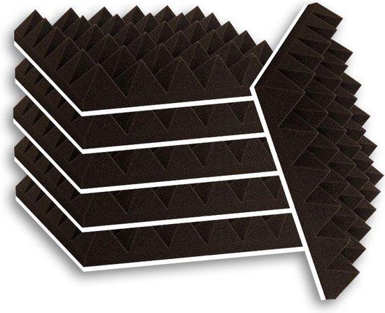 Zelfklevende geluidsisolatie pyramide   Akoestische panelen   isolatieplaten   Geluidsisolatie    Zelfklevende wandpanelen   Studioschuim   Geluidsdemper   30 x 30 x 5 cm   0,53m2   6 stuks - Zwart