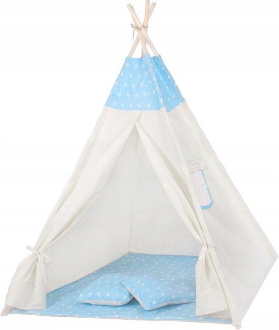 Springos Tipi Tent | Wigwam Speeltent | 120x100x180 cm | Met Mat en Kussens | Naturel Blauw | Sterren
