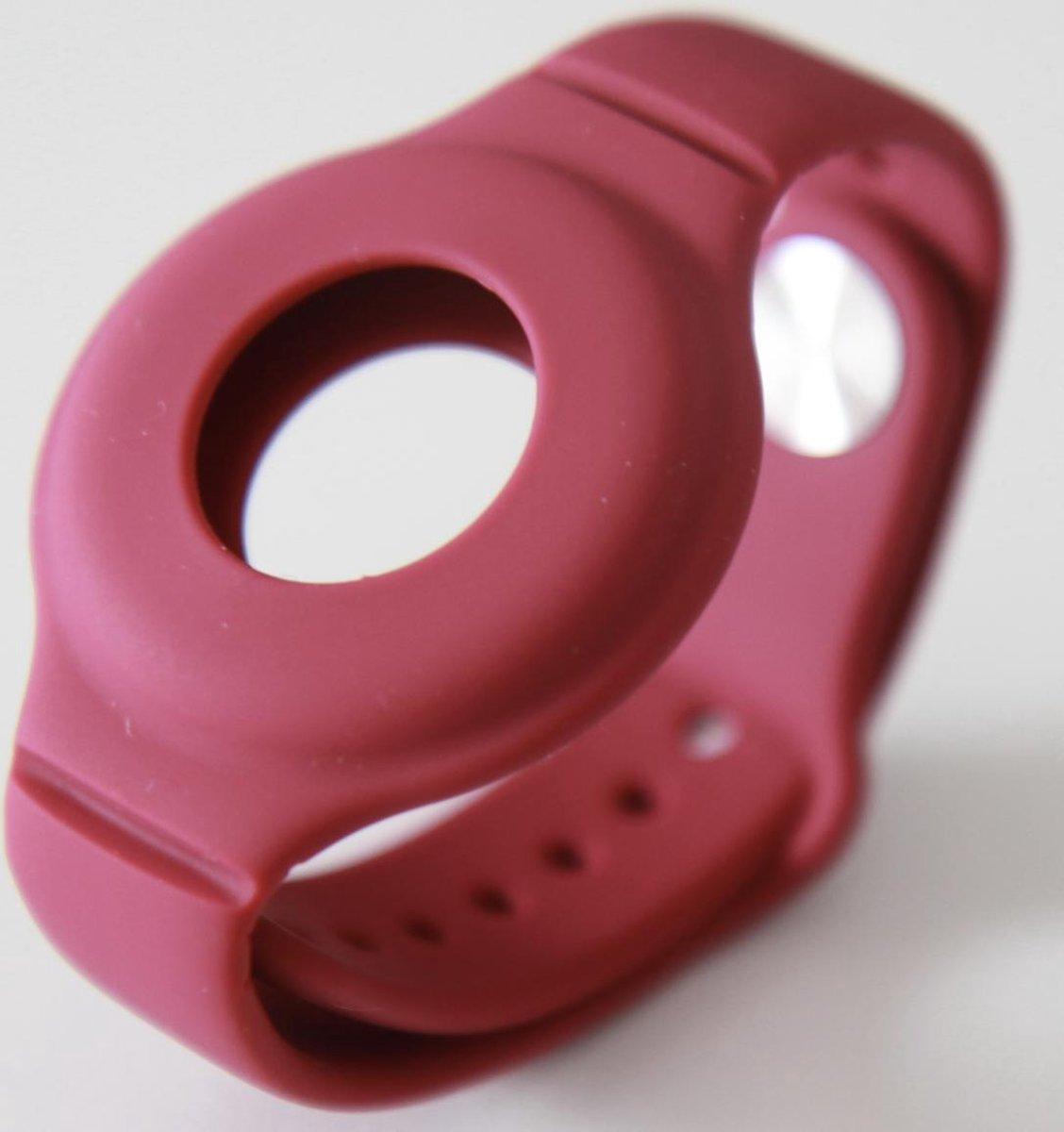Nieuwe Model Apple Airtag Sleutelhanger   Airtag Polsband voor Kinderen (Vanaf 2 jaar) & Volwassenen  Wine Rood
