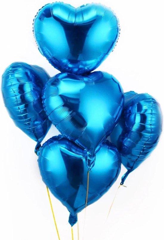 Hartvormige ballonnen 7 sts, folieballonnen, hartvorm, heliumballonnen, hartvormige ballonnen, voor verjaardag , bruiloft, verloving (blauw hart)