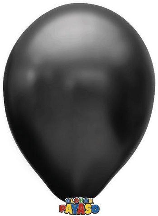 Zakje met 15 zwart metallic latex ballonnen - 30cm doorsnee (12 inch) - Biologisch afbreekbaar