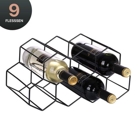 Wijnrek Hexagon 9 Flessen   Flessenrek   Wijn Accessoires   Wijnkast   Wijnrek Metaal   Wijnrekken   Wijnfleshouder   Wijnhouder   Zwart