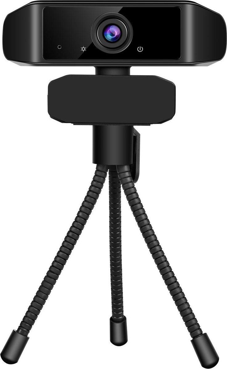 Apeiron USB Webcam Met Tripod - Professionele Webcam Voor PC - 1920x1080 - 70° Angle - FULL HD Met Microfoon - 30FPS - Autofocus Vision - Windows & Mac - Geschikt Voor Gaming/Streaming - Webcam Cover - Webcam Voor School