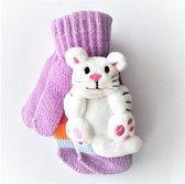 Kinderhandschoenen / Gebreide kinderhandschoenen met knuffeltje poesje erop