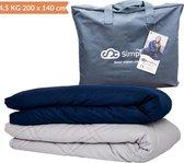 Verzwaringsdeken Set Katoen 4,5 KG Weighted Blanket Beter Slapen – Wasbare Hoes Katoen – 200 x 140 – Donkerblauw