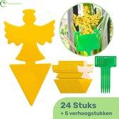 Plakkaarten voor Rouwvliegjes, Fruitvliegjes, Insecten bestrijding| 24 Stuks Extra Kleefkracht | Vliegenvanger - Plakstrip - Insectenval - Lijmvallen - Rouwvliegjes bestrijden - Fruitvliegjes vanger