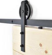 Barnwoodweb - Schuifdeursysteem Spaakwiel - Complete set - 200 cm rail - Zwart