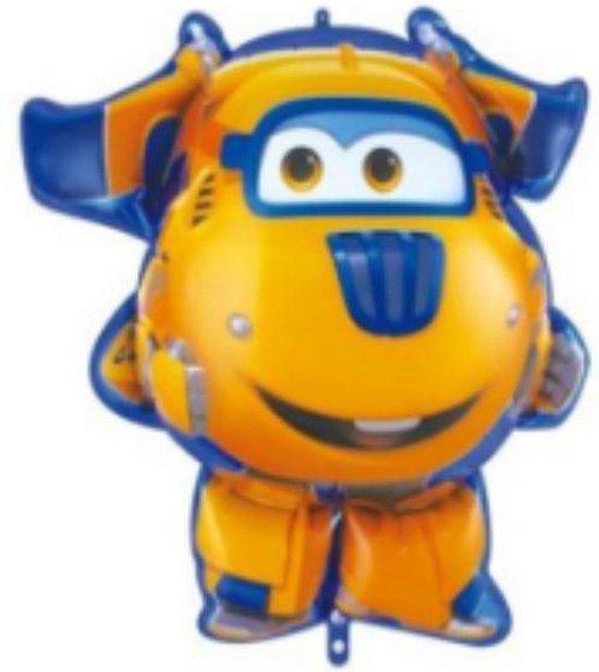 Super Wings Donnie ballon - XL - Geel - 81x70cm - Vliegtuigen - Verjaardag - Versiering kinderfeestje - Super Wings - Folie ballon - Feest - Leeg - Dizzy - Jett - Paul - Donnie