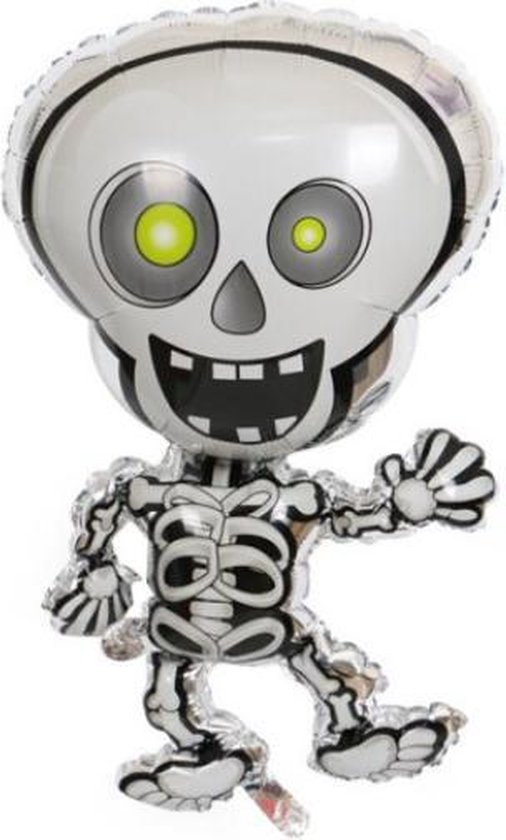 Skelet Ballon - XL - 81x47cm - Ballonnen - Halloween - Thema feest - Verjaardag - Helium ballon - Horror - Folie ballon - Leeg - Halloween Versiering - Halloween accessoires - Halloween decoratie