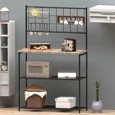 Keukenkast industrieel van WDMT™   90 x 40 x 93 cm   Keukenrek   Keukenkasten   Staand Rek van metaal en hout   Bruin/Zwart
