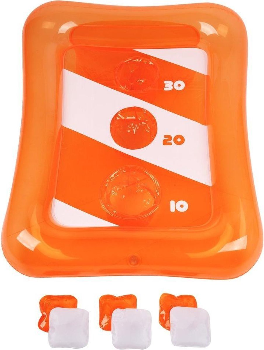 Sunnylife - Opblaasbaar - Cornhole Spel - 90 x 70 x 35cm - 1x drijvende cornhole game board en 6x opblaasbare zakjes