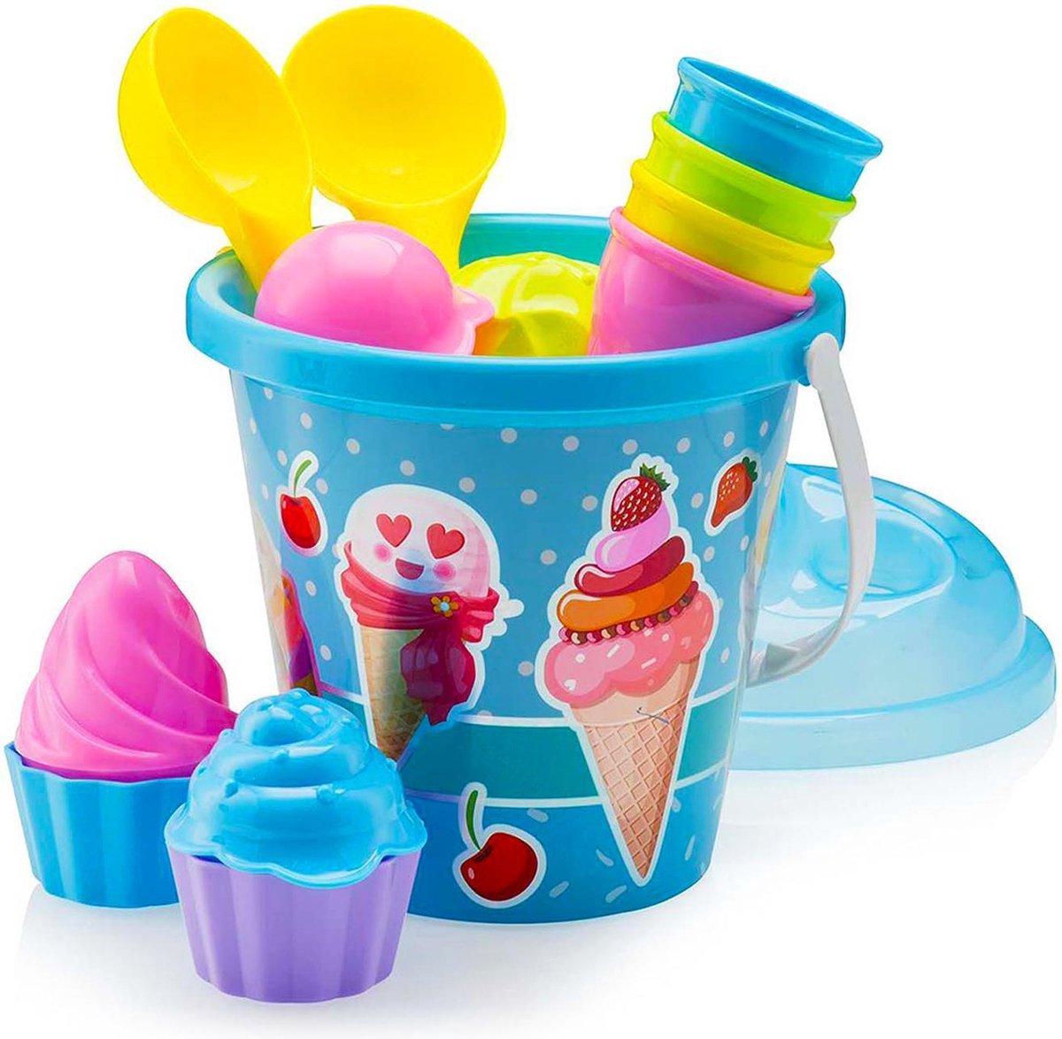 Buxibo 10 Delige IJS Strand/Zandbak Speelgoedset - Inclusief Opbergbak - ijsvormpjes/Zandbakspeeltjes/Strandspeelgoed/Strandset