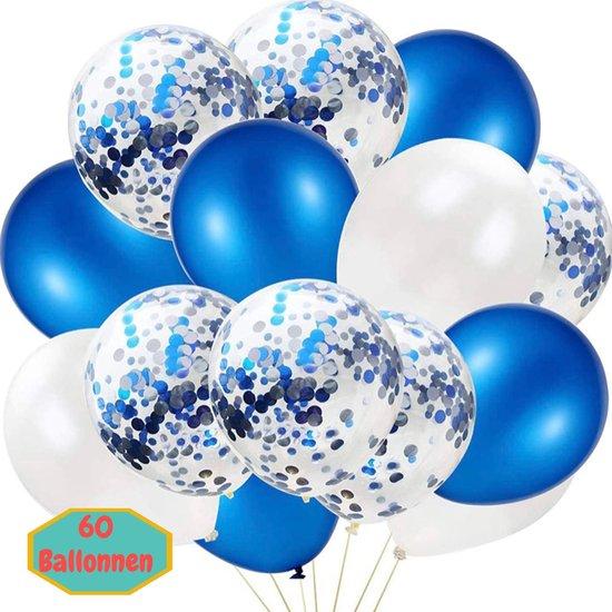 Baloba® 60 stuks Blauw, Wit & Voorgevuld met Papieren Confetti Ballonnen met Lint - Helium Latex Ballonnen