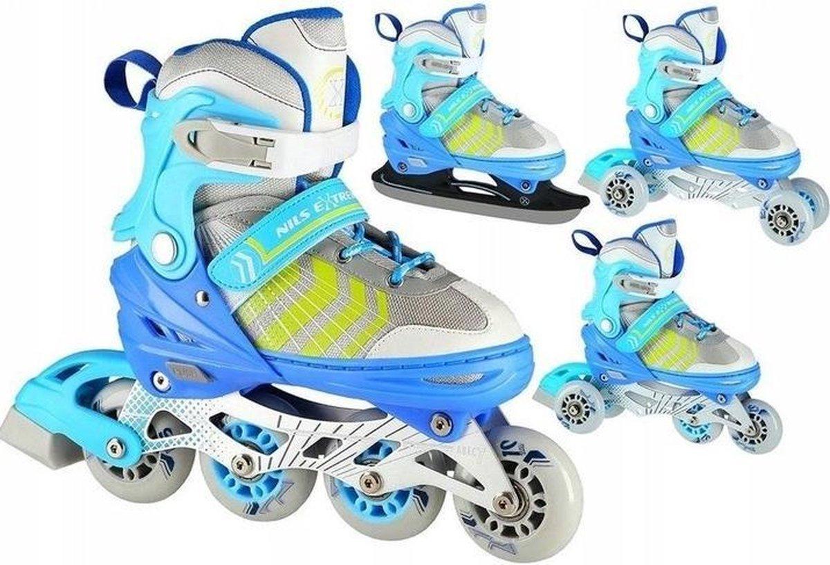 4in1 Nils - Extreme - skeelers/schaatsen/rolschaatsen Kleur: Blauw Maat: 34-38