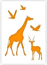 QBIX Afrikaanse Dieren Sjabloon A5 Formaat Kunststof - Giraffe is 7,3cm breed