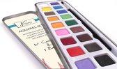 Nassau Fine Art Aquarel set 18-delig | 18 geassorteerde kleuren waterverf | Inclusief Penseel | voor kinderen, beginners en gevorderde kunstenaars |  Schilderen - Kunst en hobby - Schilderen - Tekenen Kleurplaten