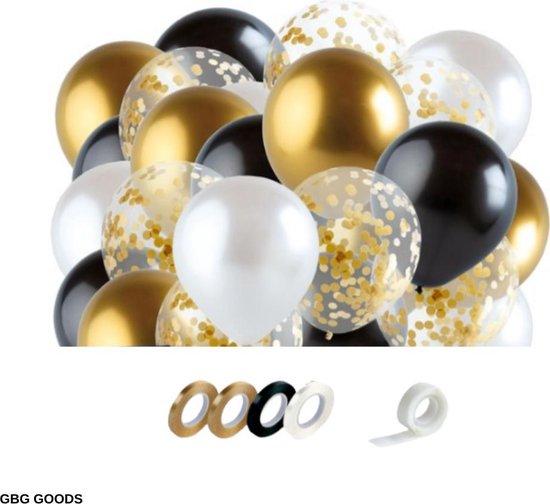 GBG 40 stuks Zwart Goud Ballonnen met Lint – Decoratie – Feestversiering - Papieren Confetti – Black Gold - Black Gold Latex - Verjaardag - Bruiloft - Feest