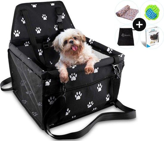 Autostoel Hond Opvouwbaar & Waterdicht voor Onderweg - Hondenmand Auto - Autobench - Hondenstoel - Incl. e-book, Bal & Deken - Quzi®