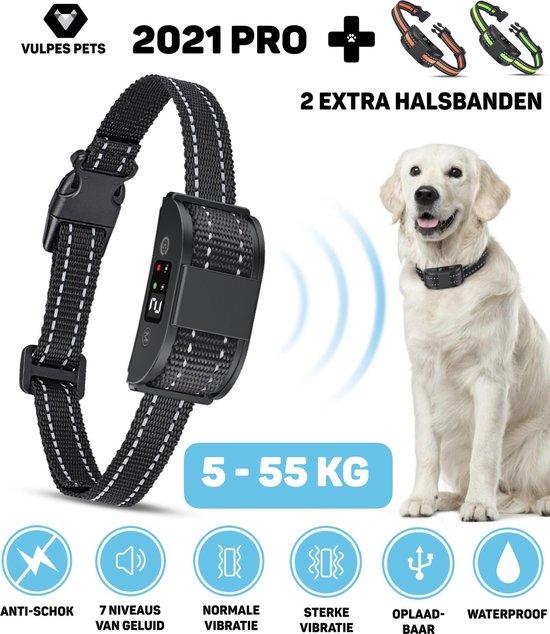 Vulpes Pets Anti blafband voor Honden – 5-55KG – Diervriendelijk – Zonder schok – Vibratie en audio – anti blafband – 2 modes – 2 gratis extra halsbanden – Oplaadbaar – Waterproof – Halsband honden – Halsbanden - Kleine hond - grote hond - 2021 nieuw