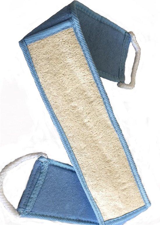 SkinCleanAndCo -Loofah baddoek - Loofa -  Loofa spons - Lichaamsborstel - Badspons - 8*68 cm- Blauw