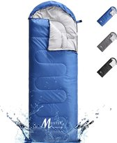 Meisterhome® mummy slaapzak kamperen donker blauw ca. 220 x 75 cm met draagtas